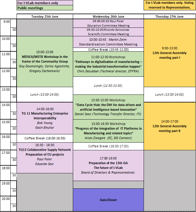 INTEROP-VLab's General Assembly week 2019 schedule